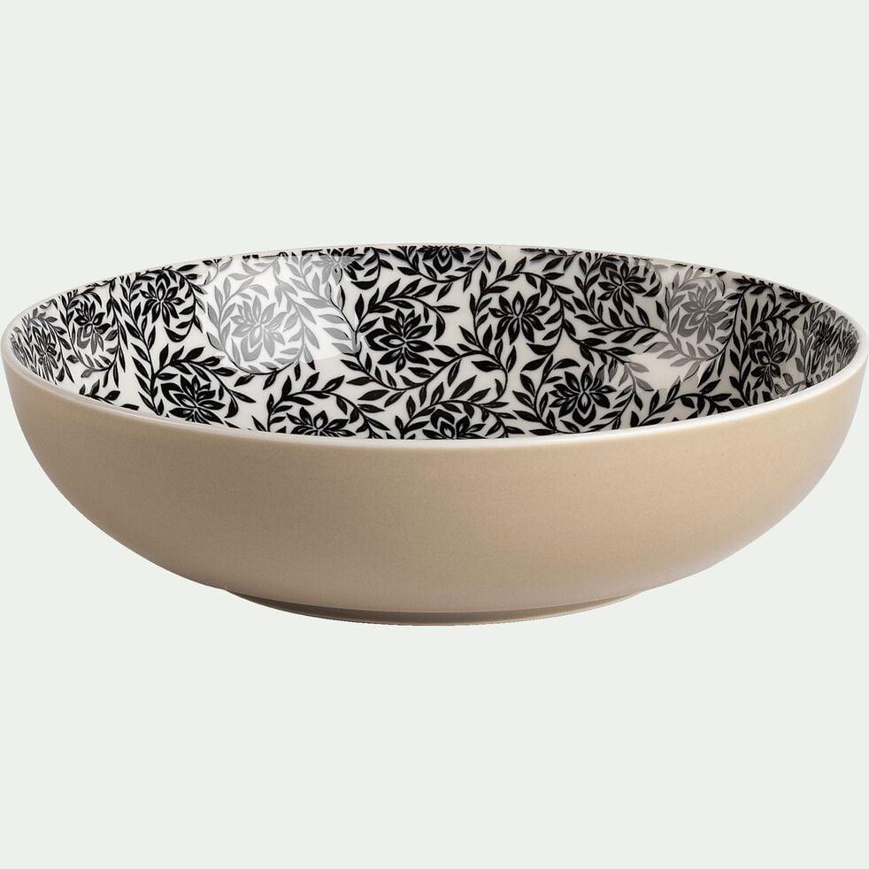 Assiette creuse en porcelaine motifs jasmin - beige nèfle D21cm-AIX