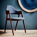 Chaise en tissu gris foncé piétement métal effet bois-GONZAGUE