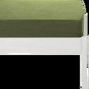 Drap housse en coton lavé vert guarrigue 90x200 cm-CALANQUES