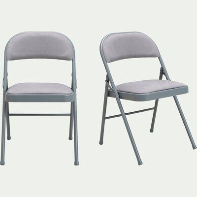Chaise pliante en métal et tissu gris restanque-CASTA