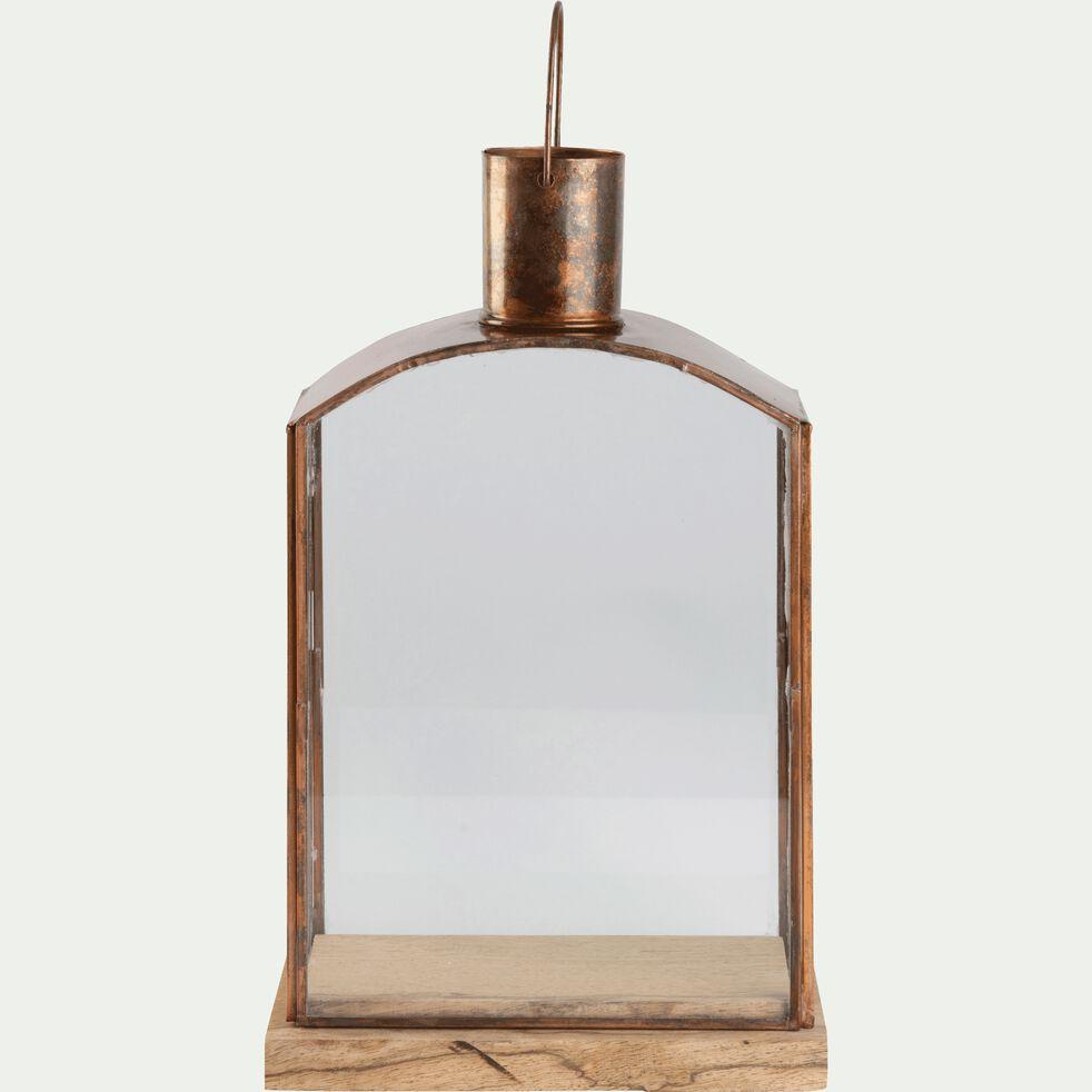 Lanterne en verre et métal cuivré H30cm-TETOUAN