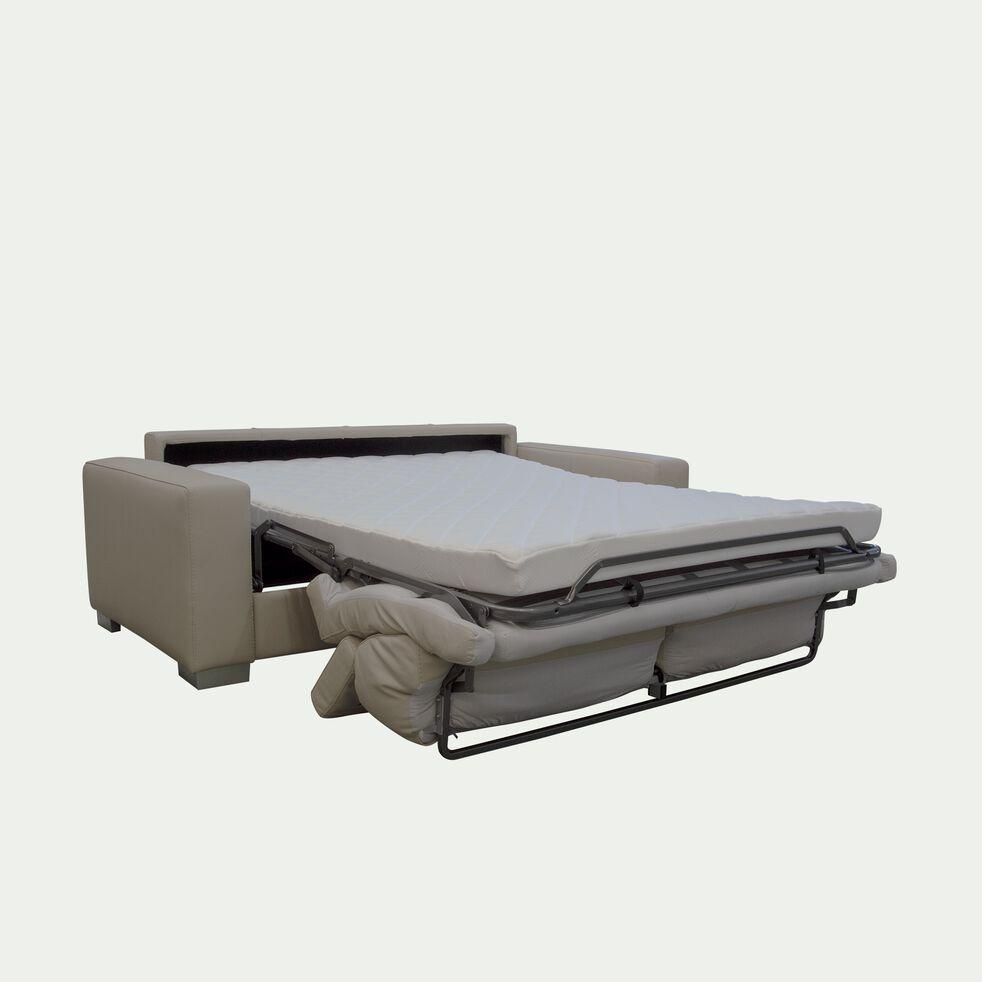 Canapé 3 places convertible en cuir de buffle - beige-Mauro