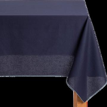 Nappe en lin et coton bleu myrte 170x170cm-MILA