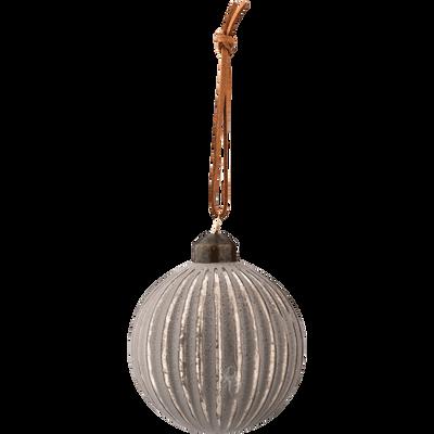 3 boules en verre gris D8cm-JADE