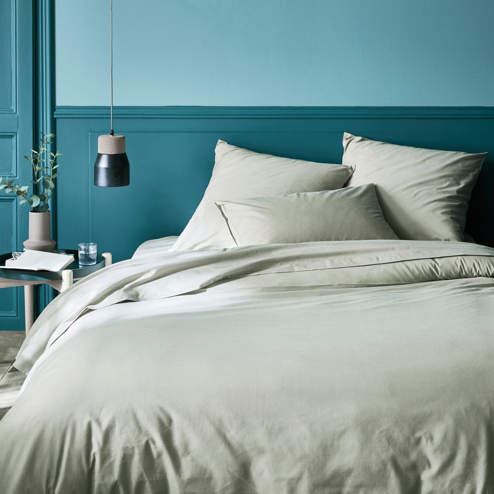 housse de couette en coton vert olivier 240x220cm calanques 240x220 cm promotions alinea. Black Bedroom Furniture Sets. Home Design Ideas