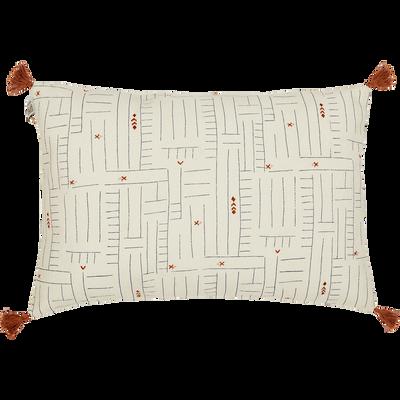 Coussin en coton Blanc à motifs et pompons 40x60 cm-SOUK