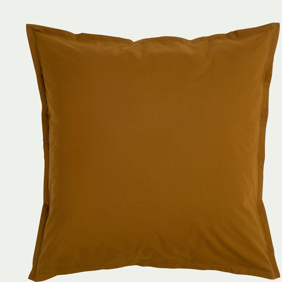 Lot de 2 taies d'oreiller en percale de coton - jaune alep 65x65cm-FLORE