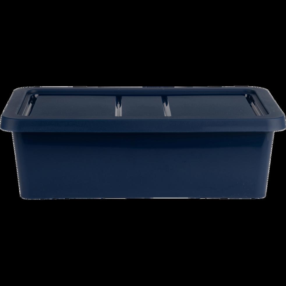 Boîte de rangement en plastique bleu H19xP10,5xl34,5 cm-ANDATI