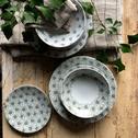 Assiette plate en grès décoré gris borie D27cm-JASMIN