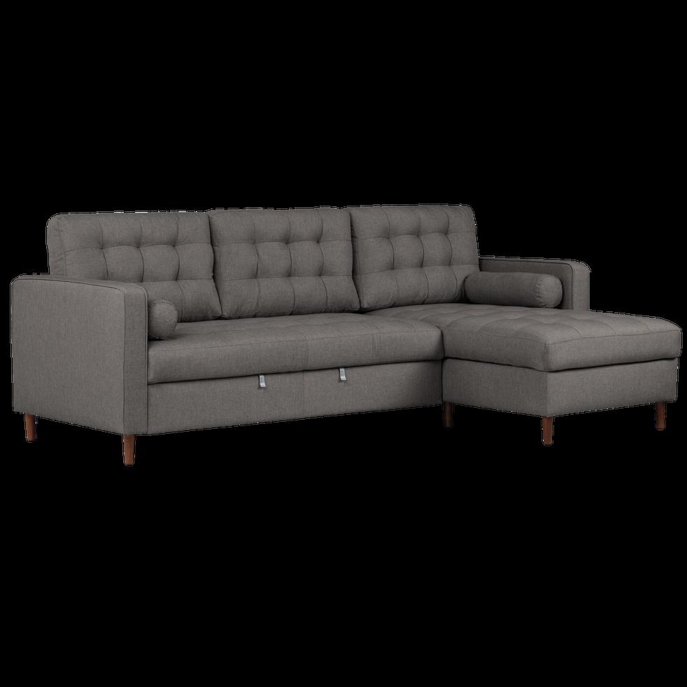 canap d 39 angle convertible r versible en tissu gris. Black Bedroom Furniture Sets. Home Design Ideas