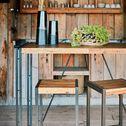 Table haute rectangulaire plaquée bois et métal vieilli - L130cm-OSCAR