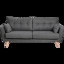 Canapé 3 places fixe en tissu gris-ICONE