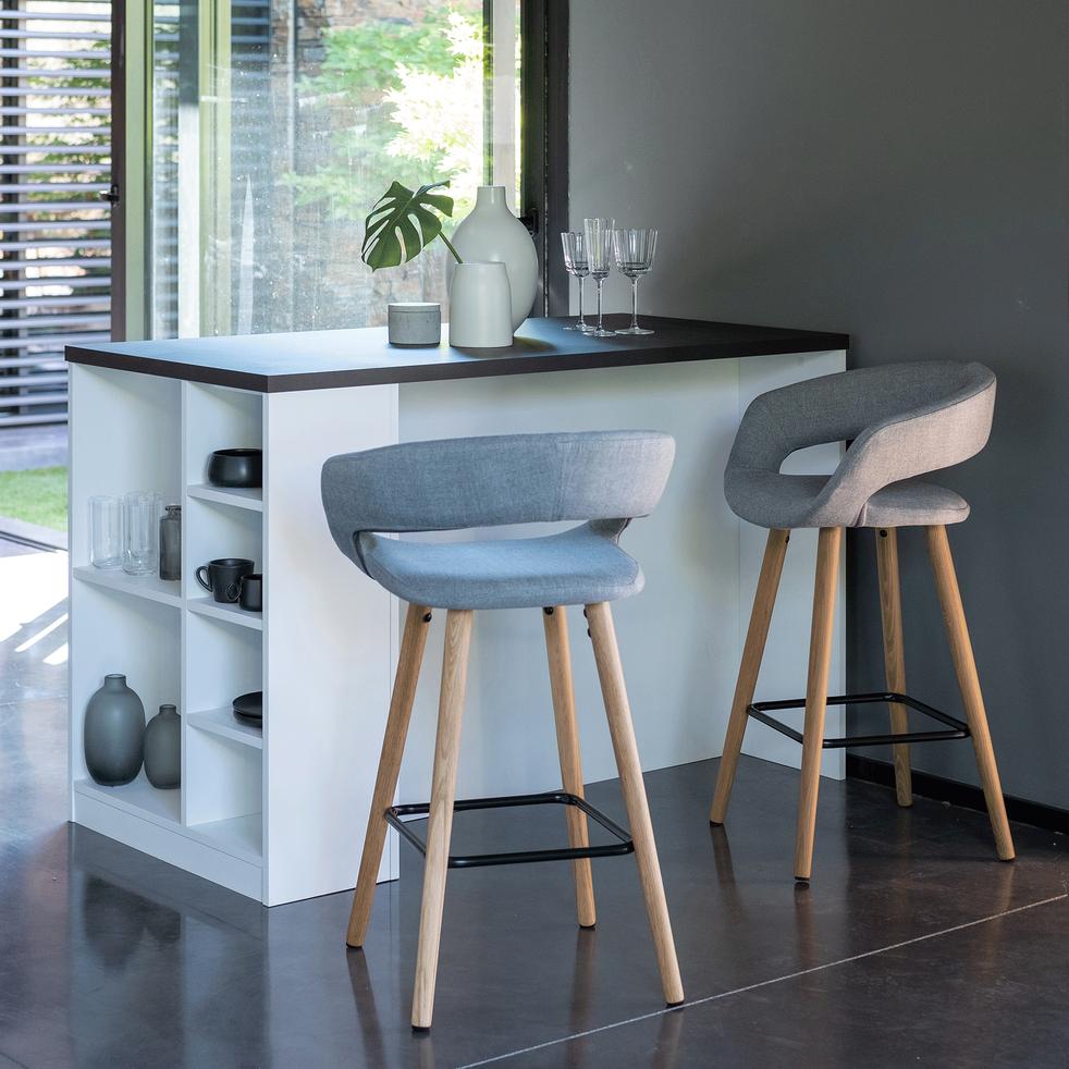 chaise de bar en tissu avec accoudoirs gris. Black Bedroom Furniture Sets. Home Design Ideas