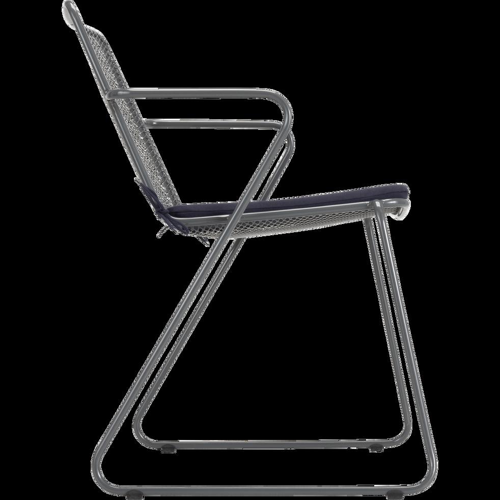 Chaise de jardin en acier gris-ALEXIA