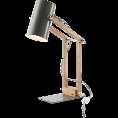 Lampe de bureau en métal gris et bois H58cm-SOFT
