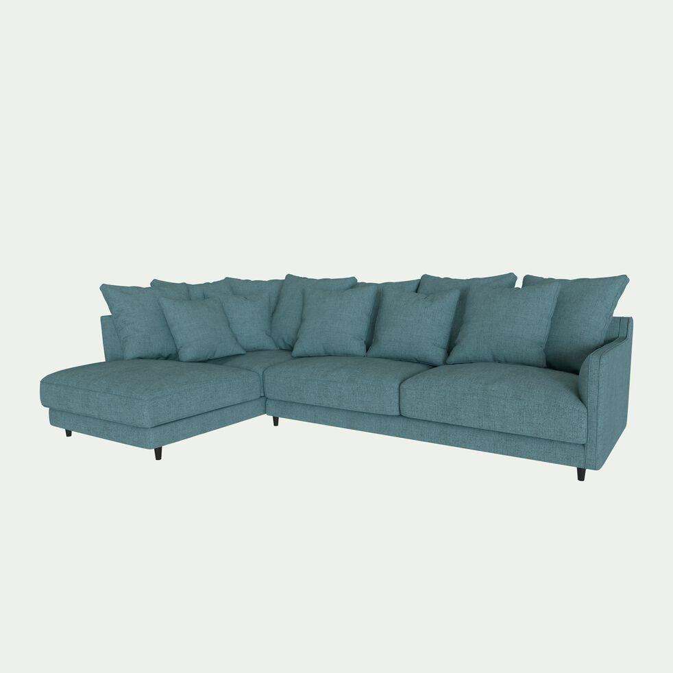 Canapé d'angle gauche convertible en tissu joint - bleu niolon-LENITA