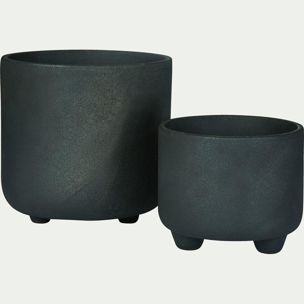 Cache-pot en céramique effet charbon D11xH9,5cm-Ouarzazate