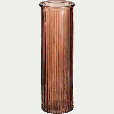 Vase verre brun ombre H20cm-EZIO