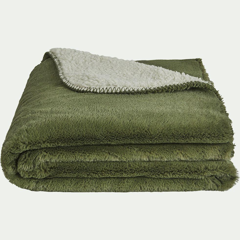 Plaid imitation fourrure en polyester - vert cèdre 230x250cm-MARIUS