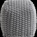 Pouf tressé gris 30x30cm-SQUARE