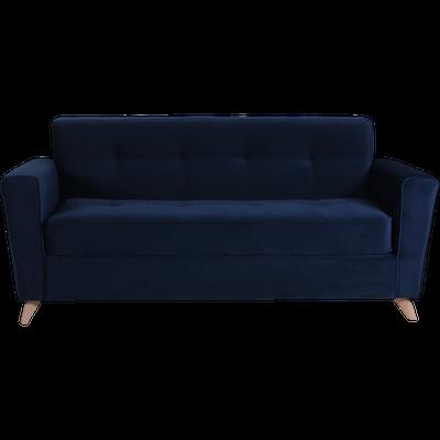 Canapé 3 places fixe en velours bleu-VICKY