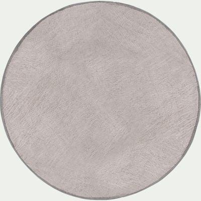 Tapis rond fourrure - gris clair D150cm-Dallas