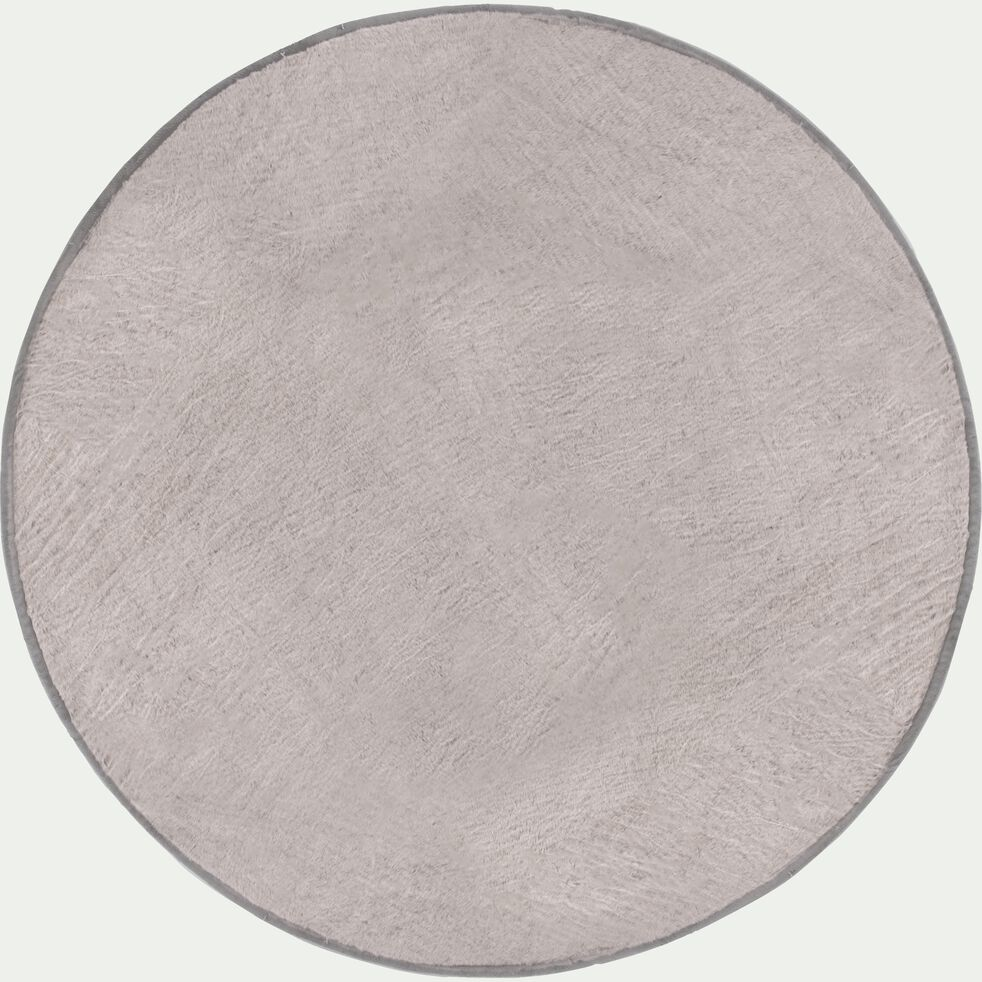 Tapis rond effet fourrure - gris clair D150cm-Dallas