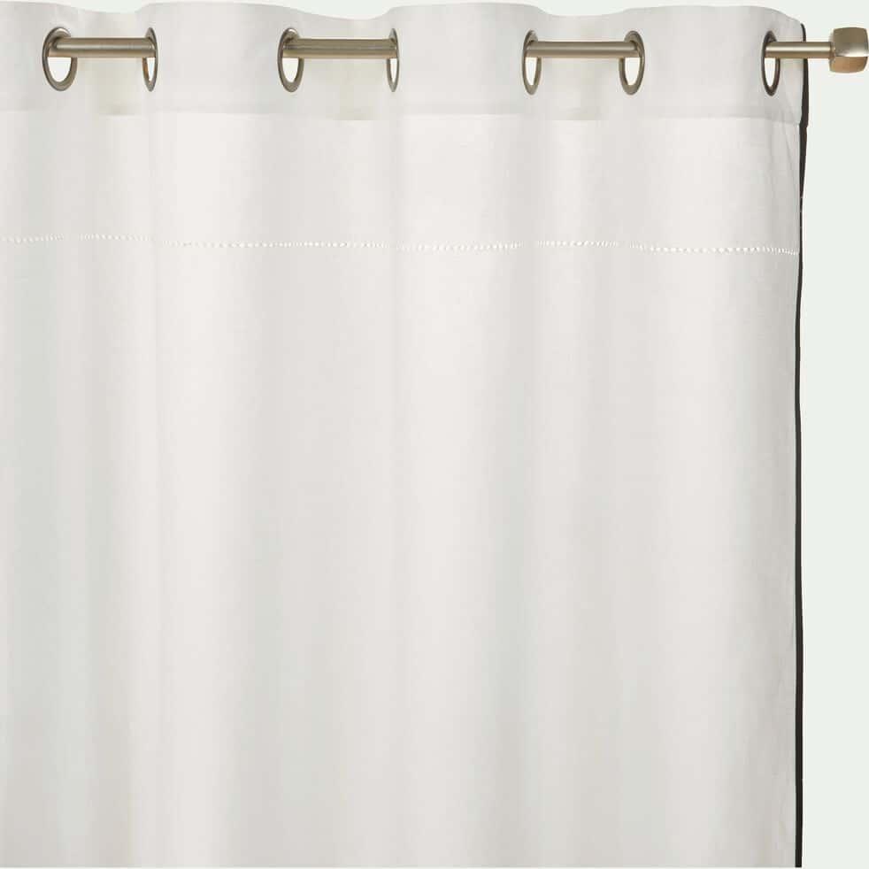 Rideau à œillets en lin et coton liseré - blanc 140x250cm-BANDOL