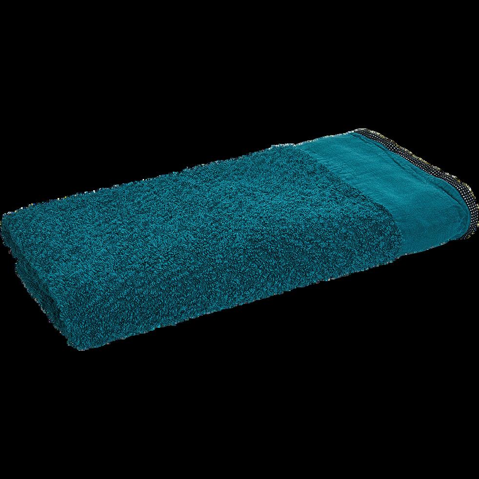 Drap de douche coton et lin 70X140cm bleu niolon-ADONI