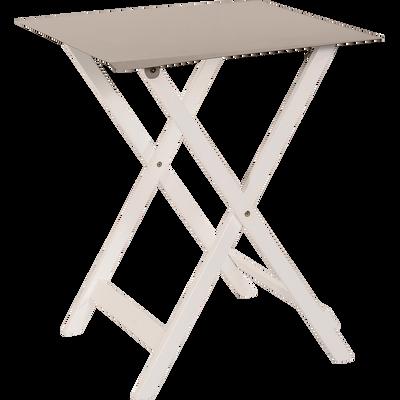 Table de jardin pliante taupe en acier et acacia (2 places)-METALICA