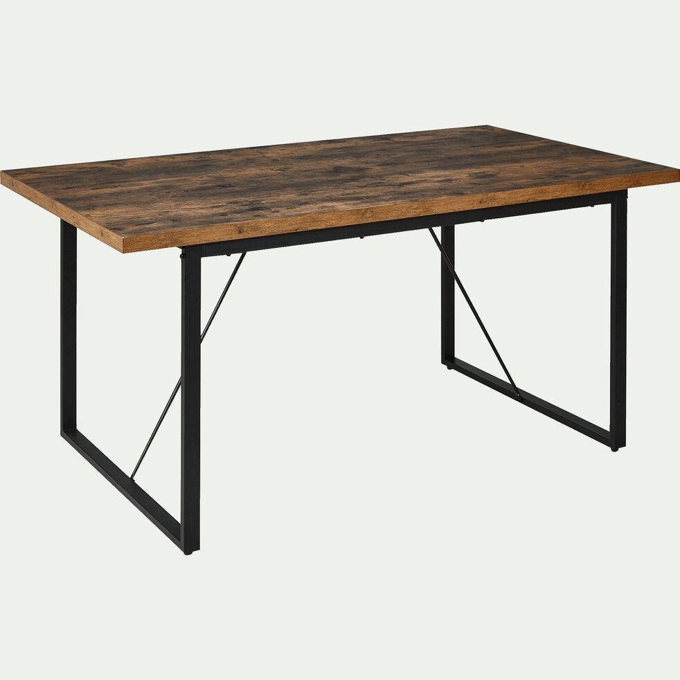 Table de repas rectangulaire effet bois et acier - 7 places