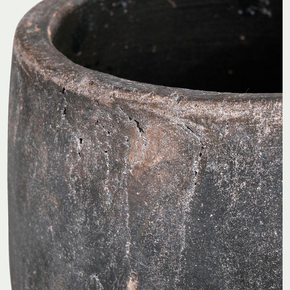 cache-pot en ciment noir h19xd20 cm-BARI