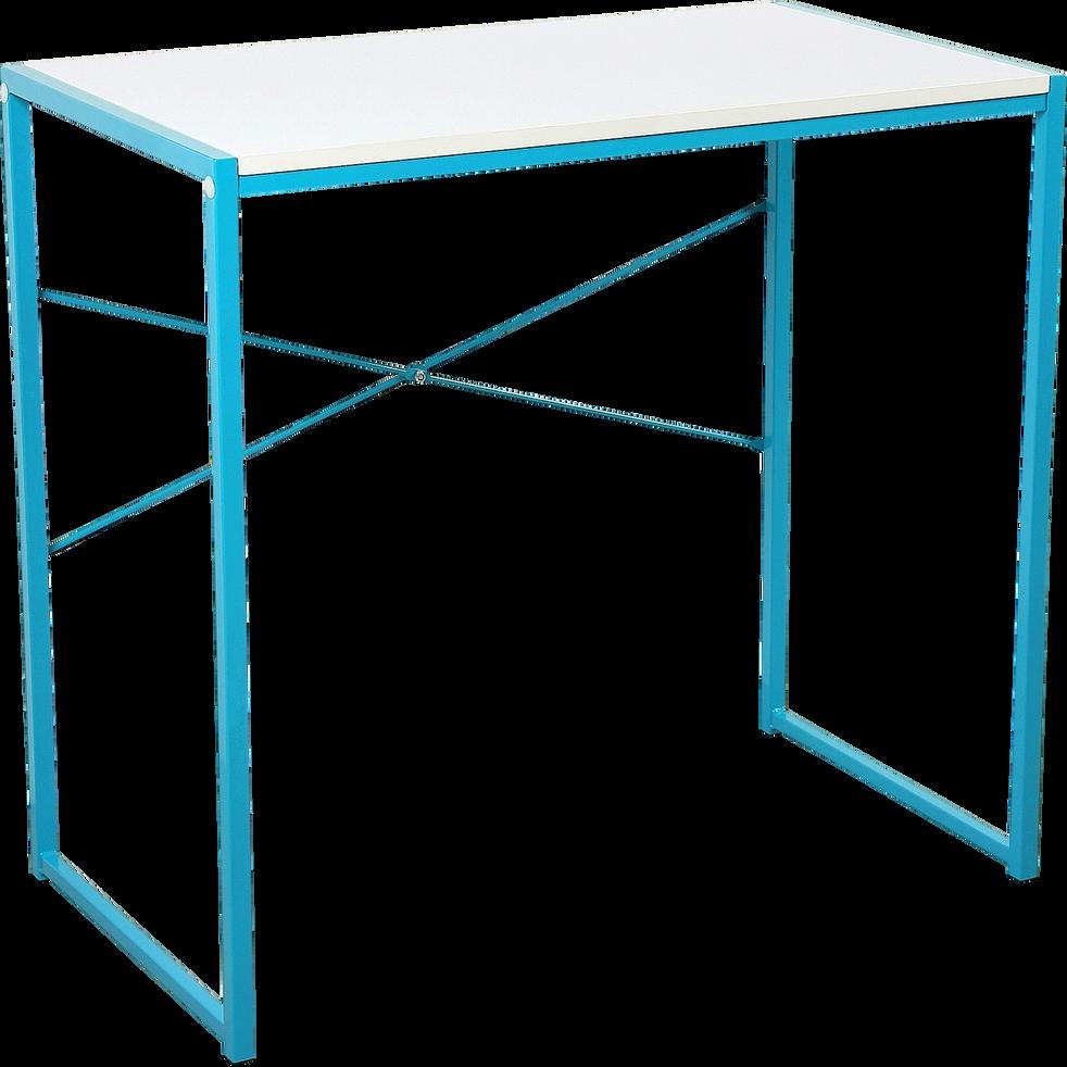 Bureau enfant Blanc et Bleu turquoise-ZARO