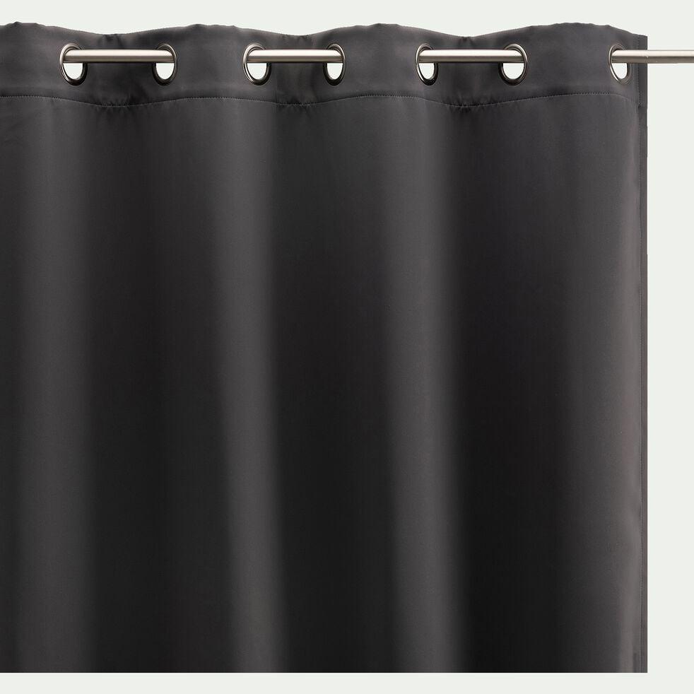Rideau occultant à œillets en polyester - gris ardoise 140x250cm-GORDES