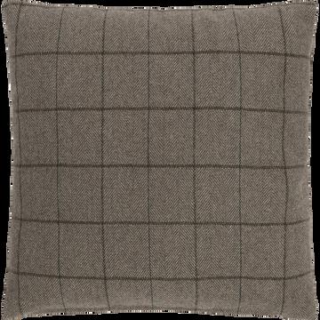 Coussin à carreaux en laine et polyester marron 40x40cm-GERMAIN