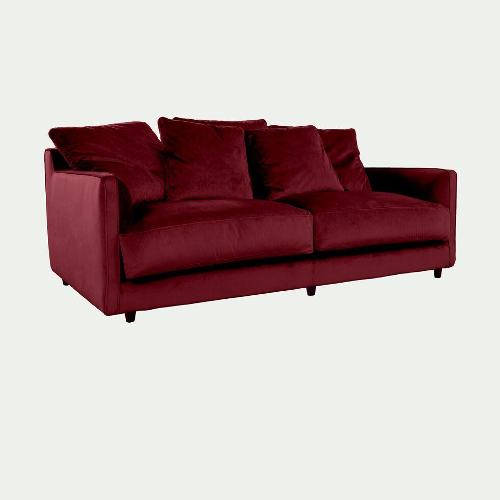 Canapé 3 places fixe en velours rouge sumac - LENITA ...