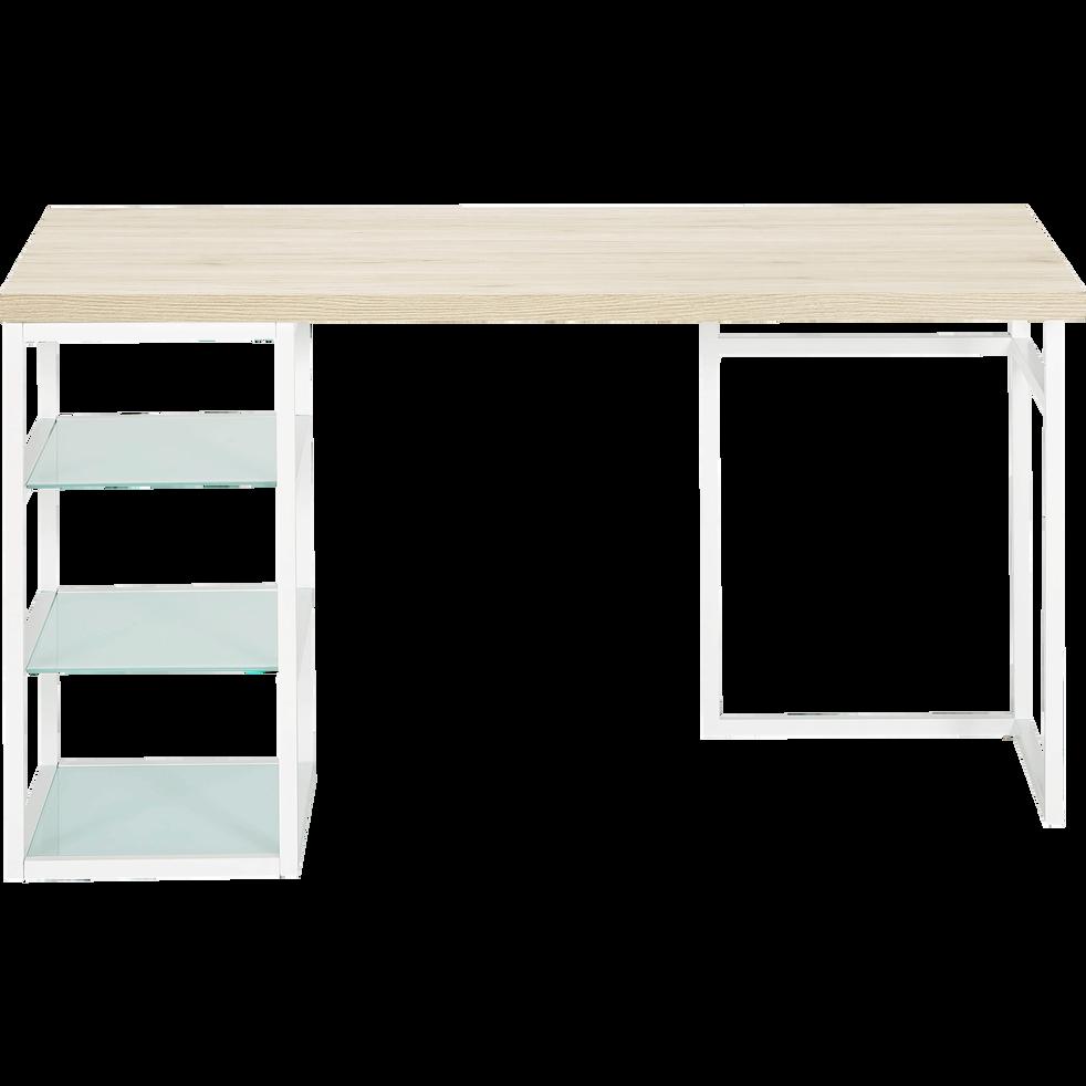 Tréteau / caisson de bureau Blanc avec 3 tablettes en verre-ARMADA