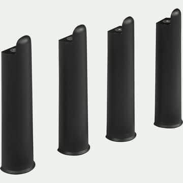 Pieds de sommier cadre à lattes noirs H22cm - Jeu de 4-Morpho