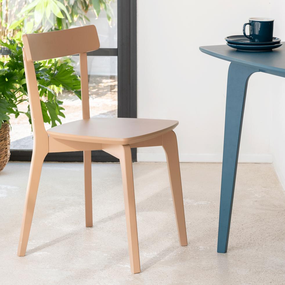 Chaise en bois rose argile-SUZIE
