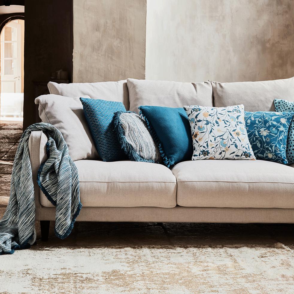 Plaid en coton écru et bleu 160x200cm-PALOMA
