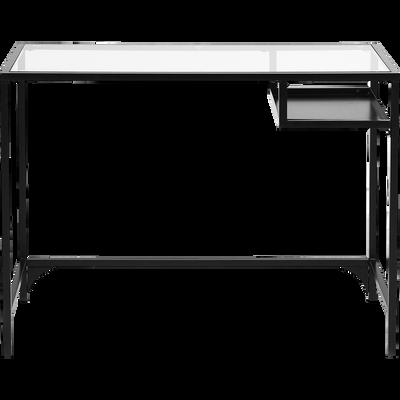 Console en métal noir et verre L100cm-LOKA