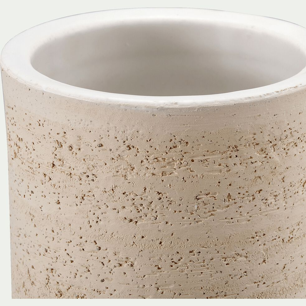Vase en terre chamottée - blanc ventoux D20X40cm-TERRE