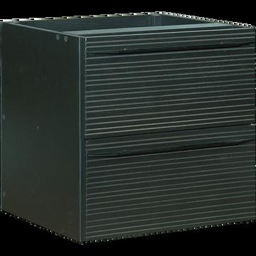 Bloc de 2 tiroirs striés format carré noir-FINE