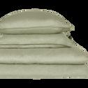 Lot de 2 taies d'oreiller en lin Vert olivier 50x70cm-VENCE