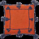 Housse de coussin 45x45 cm en coton avec pompons Orange brique-ILIES