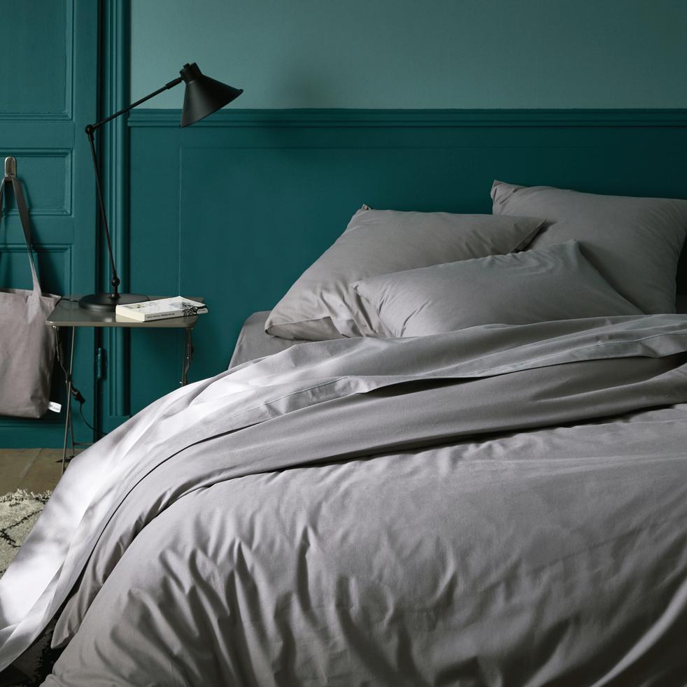 housse de couette en coton gris restanque 240x220cm calanques 240x220 cm promotions alinea. Black Bedroom Furniture Sets. Home Design Ideas