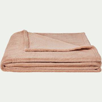 Plaid effet polaire en polyester - rose argile 180x220cm-ROBIN