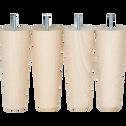 Pieds de sommier hêtre clair H17 cm - jeu de 4-CONIQUE