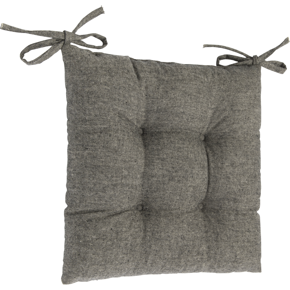 Galette de chaise piquée en polyester gris clair 40x40cm-CORBIN