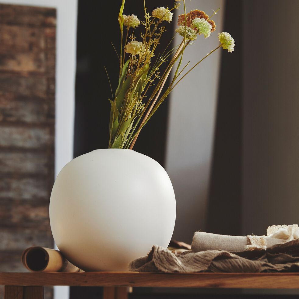 Vase boule en céramique - blanc ventoux D20xH20cm-BALA